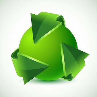 Setas verdes de reciclagem e terra verde, ilustração