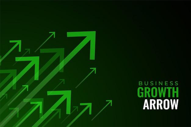 Setas verdes para cima do crescimento das vendas de negócios