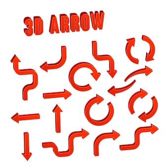 Setas vermelhas 3d definem coleção sobre fundo branco