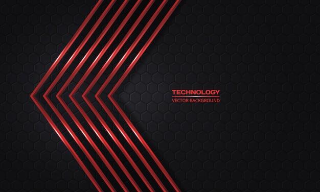 Setas vermelhas sobre um fundo escuro hexagonal de grade abstrata.