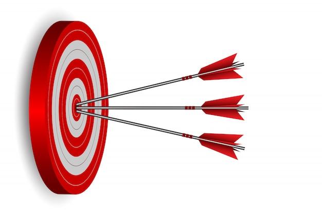 Setas vermelhas três setas no alvo círculo ilustração