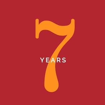 Sete anos símbolo sétimo aniversário emblema aniversário sinal número logotipo conceito poster vintage