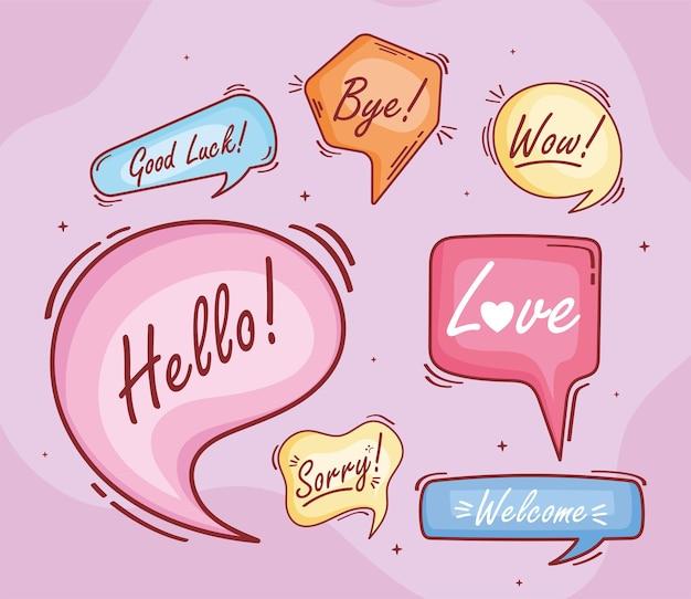 Sete balões de texto rabiscam ícones