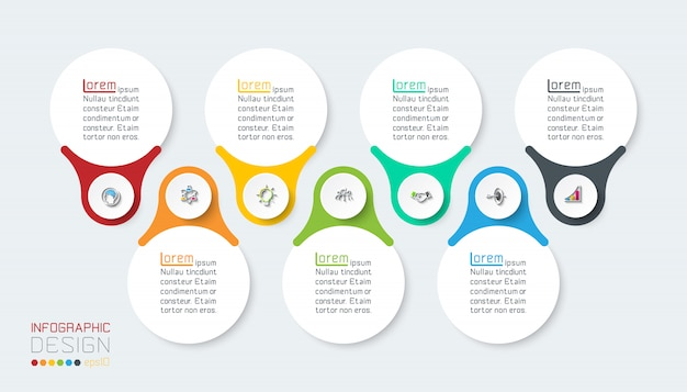 Sete barra de infográficos verticais.