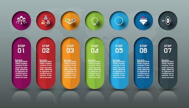 Sete barras coloridas com infográficos de ícone de negócios.