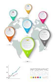 Sete círculos com ícone de negócios