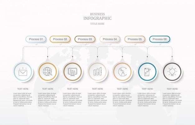Sete círculos de elementos e ícones infográficos.