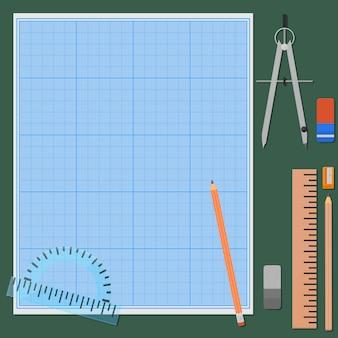 Sete coisas para desenho mecânico.