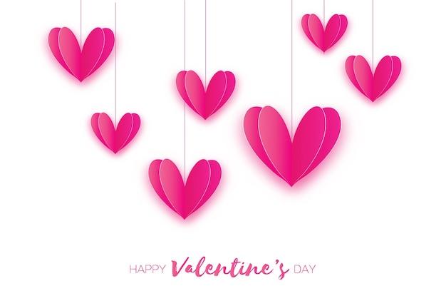 Sete corações de amor rosa em estilo de corte de papel. férias românticas