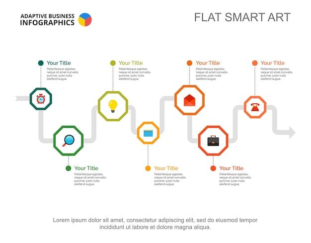 Sete etapas processam gráfico. dados da empresa. fluxo de trabalho, visualização, design.