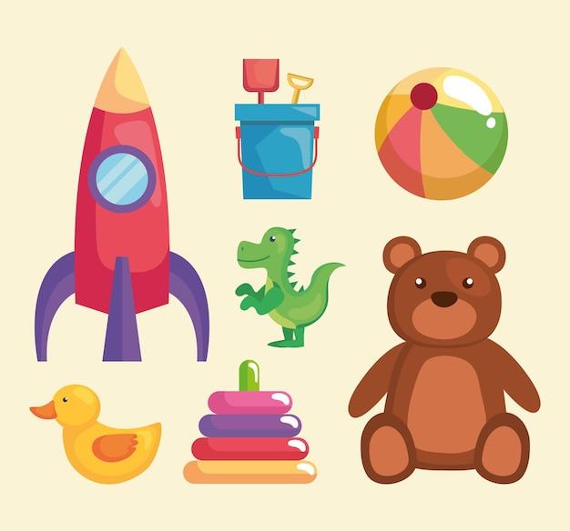 Sete ícones de brinquedos infantis