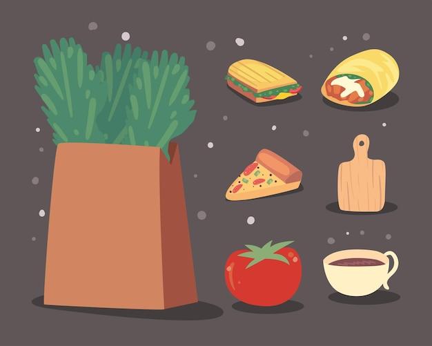 Sete ícones de conjunto de comida caseira