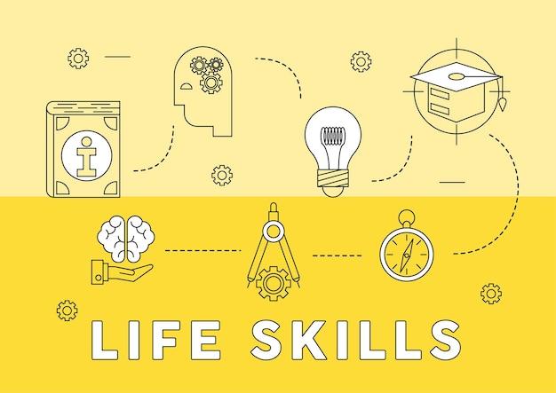 Sete ícones de habilidades para a vida