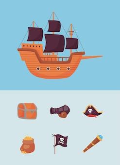 Sete ícones de piratas