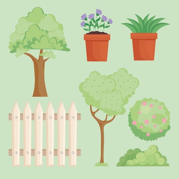 Sete ícones de quintal