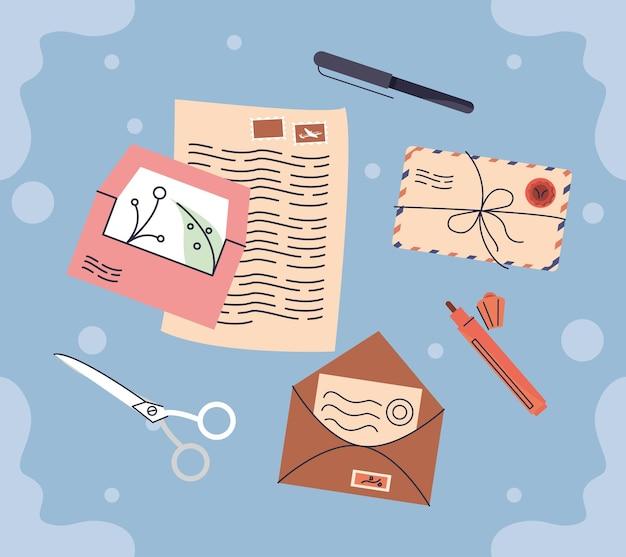 Sete ícones do serviço postal