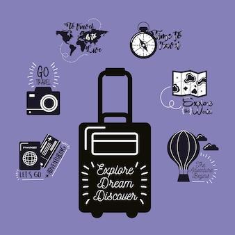 Sete inscrições de viagens