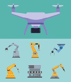 Sete máquinas robóticas de produção