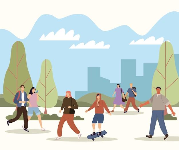 Sete pedestres caminhando