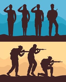 Sete silhuetas de esquadrão militar