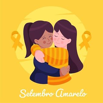 Setembro amarelo com amigos se abraçando