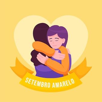 Setembro amarelo com mulheres se abraçando