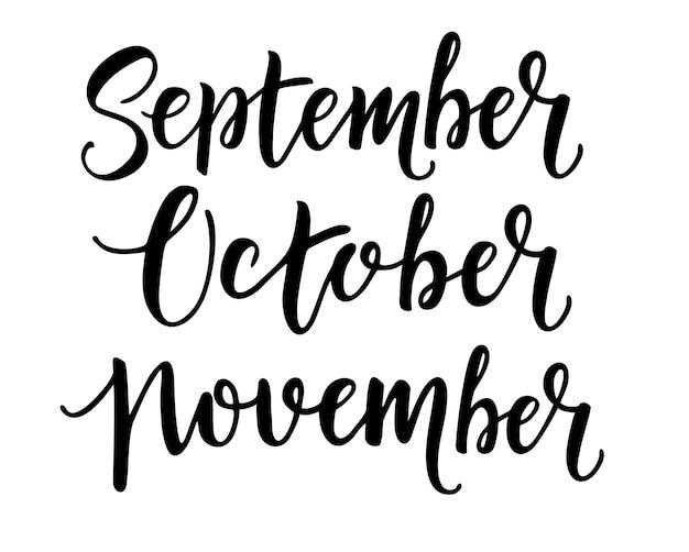 Setembro outubro novembro meses de outono conjunto de letras desenhadas à mão, frases da temporada de outono, caligrafia