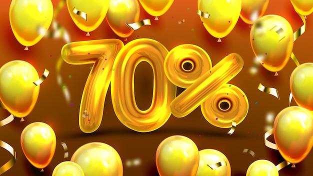 Setenta por cento ou 70 ofertas de marketing