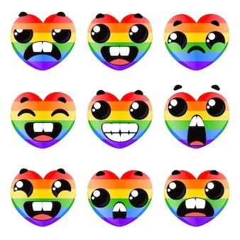 Seth corações lgbt com emoções diferentes ilustração em vetor de dia dos namorados em desenho animado