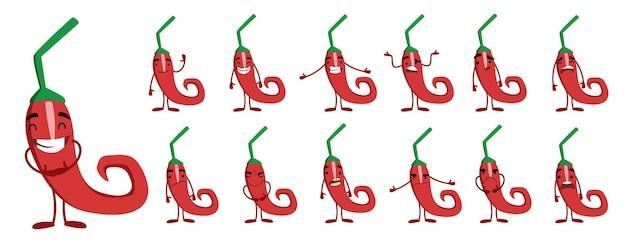 Seth é um personagem fofo da pimenta malagueta com emoções diferentes
