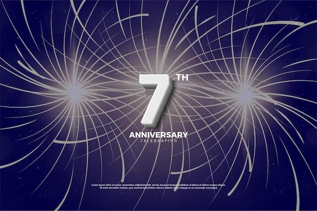 Sétimo aniversário com números e fogos de artifício como pano de fundo