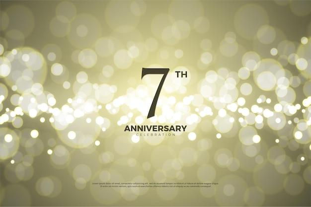 Sétimo aniversário com números e fundo de papel dourado