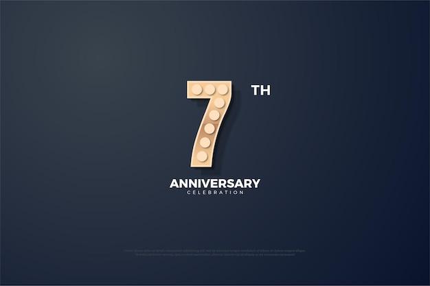 Sétimo aniversário para plano de fundo com números iluminados por luzes cintilantes