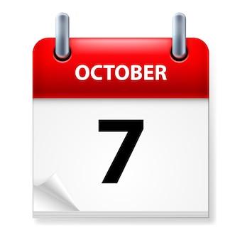Sétimo de outubro no ícone do calendário em fundo branco