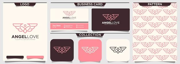 Setof coração combinado design de logotipo minimalista de asas