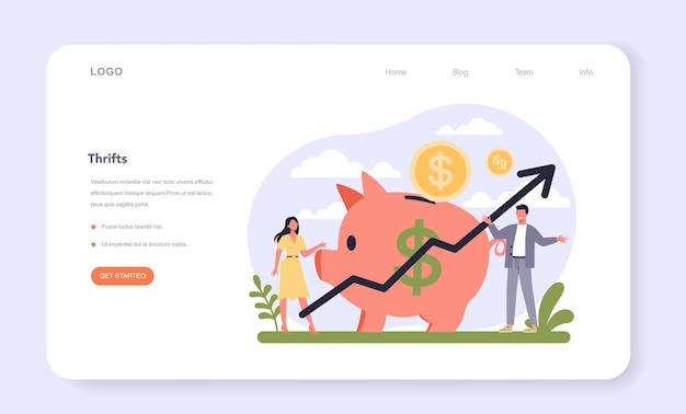 Setor bancário da economia web banner ou página de destino
