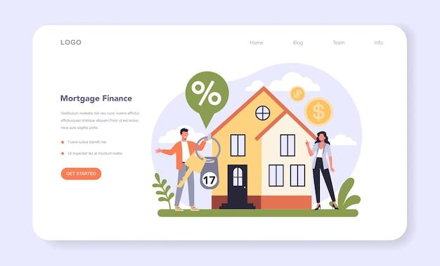 Setor bancário da economia web banner ou página de destino Vetor Premium