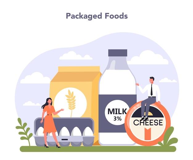 Setor da indústria de alimentos da economia manufatura leve e embalada