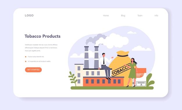 Setor da indústria de produção de tabaco da economia web banner ou landing