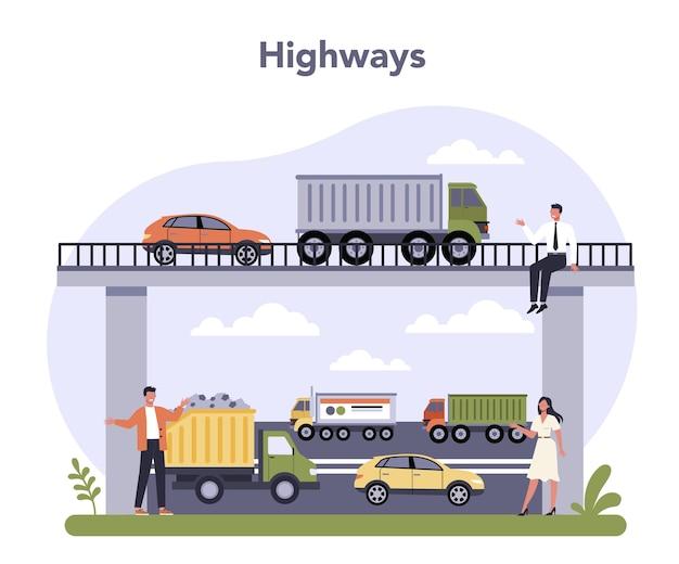Setor de infraestrutura de transporte da economia.