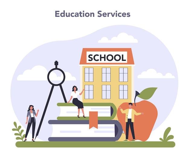 Setor de serviços ao consumidor da economia. serviço de educação.