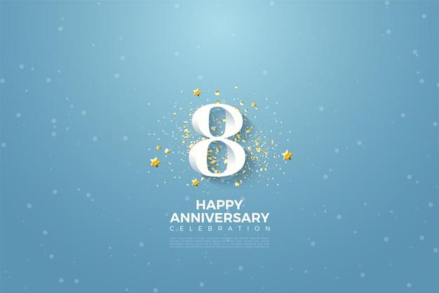 Seu 8º aniversário com números em um lindo céu azul.