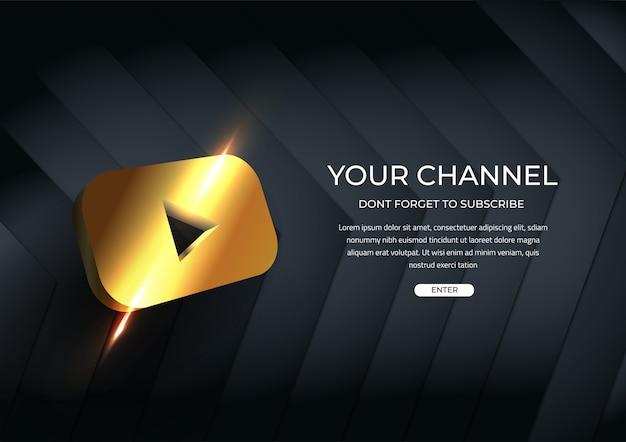 Seu canal de mídia social botão dourado do modelo de inscrição
