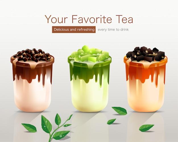 Seu chá favorito com três sabores deliciosos