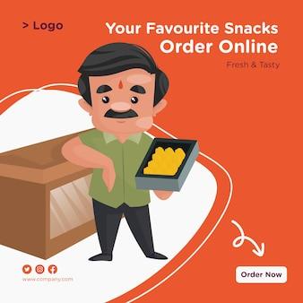 Seu lanche favorito encomenda design de banner online com confeiteiro em pé com uma bandeja de doces