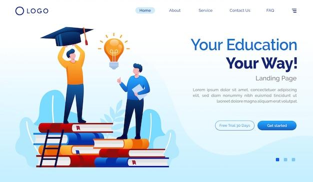 Seu modelo de vetor de ilustração de site de página de destino de educação