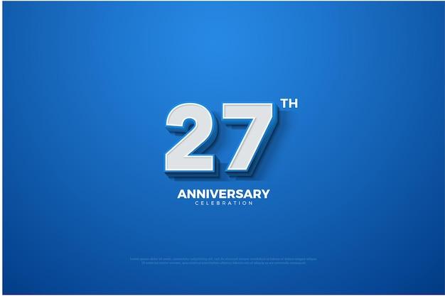 Seu plano de fundo do 27º aniversário com figuras tridimensionais surgindo contra um fundo de céu azul brilhante.