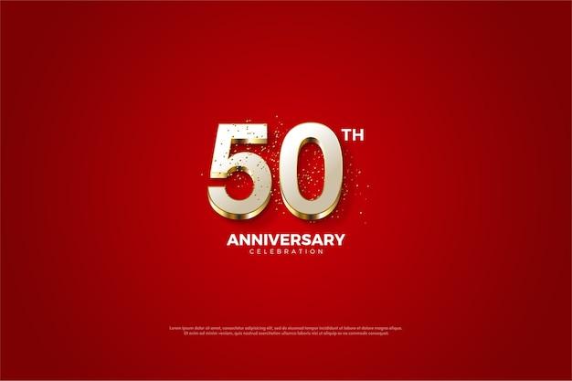 Seu quinquagésimo aniversário com brilhantes números brancos e dourados