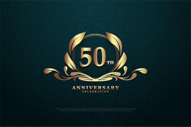 Seu quinquagésimo aniversário com números brilhantes dourados e símbolos únicos