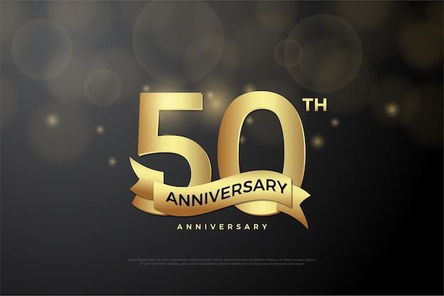 Seu quinquagésimo aniversário com números dourados e fitas